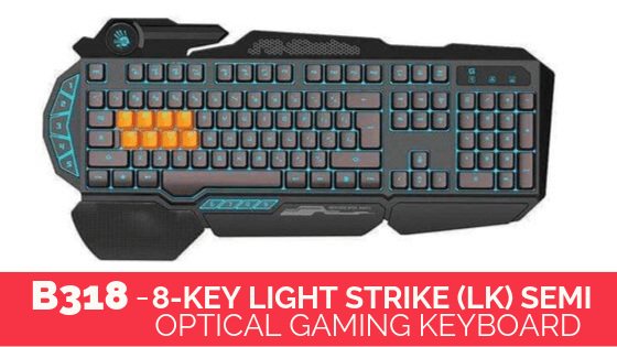 8-Key Light Strike (Lk) Semi Optical GAMING KEYBOARD